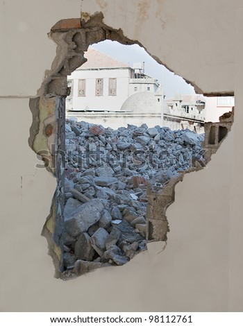 demolished concrete - stock photo