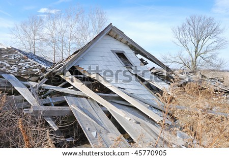 demolished house - stock photo
