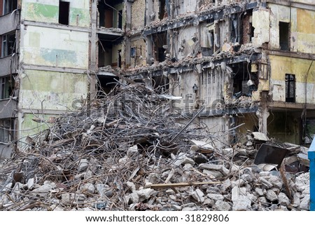Demolished house before reconstruction or after bomb explosion - stock photo