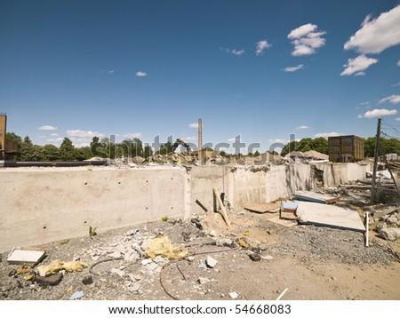 Demolished Neighborhood on a sunny day - stock photo