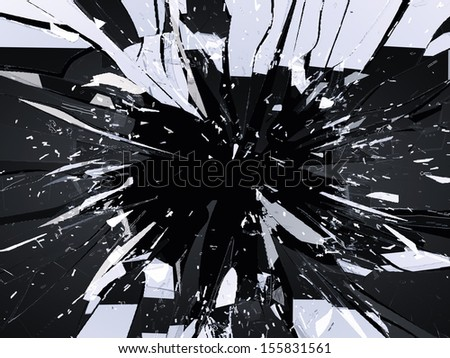 Demolished or Shattered glass isolated on black. Large resolution - stock photo