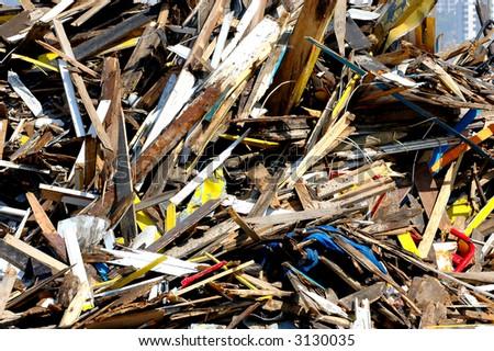 Demolished seaside wooden house - stock photo
