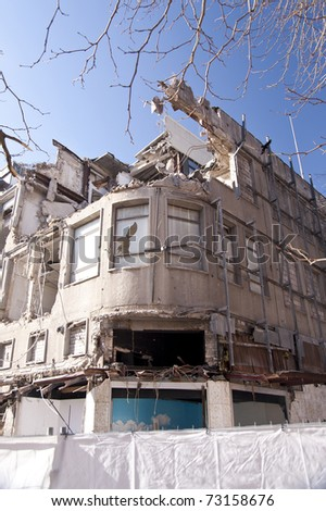 Demolishing building in Kiel, Germany - stock photo