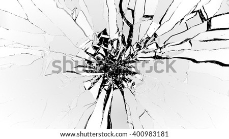 Demolishing: pieces of cubic shattered glass isolated on black