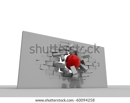 demolition ball breaking bricks - stock photo