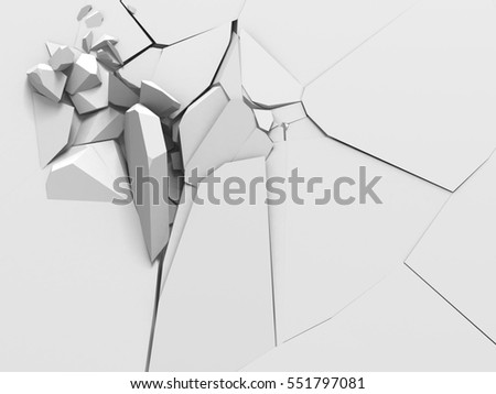 Demolition destruction explision of white wall hole. Abstract background. 3d render illustration