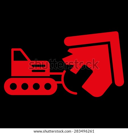 Demolition icon from Business Bicolor Set. Collection style: flat symbols, red color, rounded angles, black background.