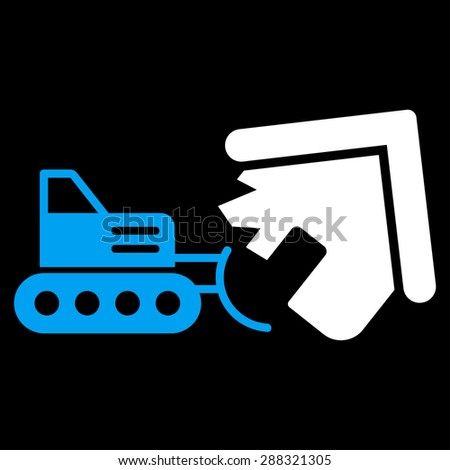Demolition icon from Business Bicolor Set. Glyph style: flat bicolor symbols, blue and white colors, rounded angles, black background.