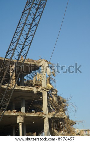 Demolition of a building - stock photo