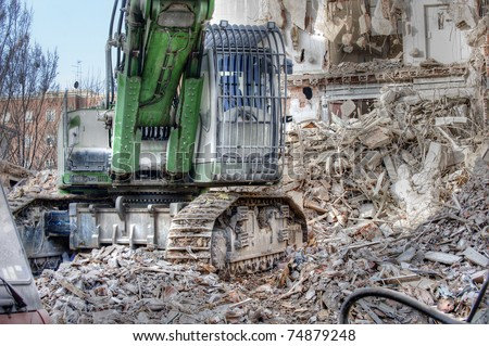 Demolition of an old block of flats. - stock photo