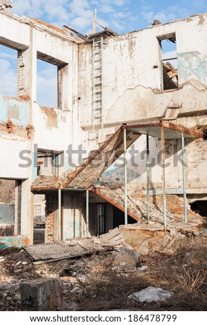 Demolition of old buildings - stock photo