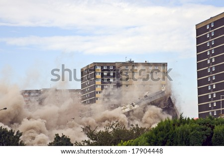 Demolition of 1960s building in Sighthill, Edinburgh.