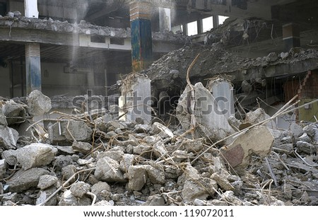 demolition of smoldering rubble in Munich's rural,Germany - stock photo
