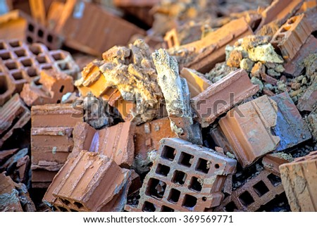 demolition residues - stock photo