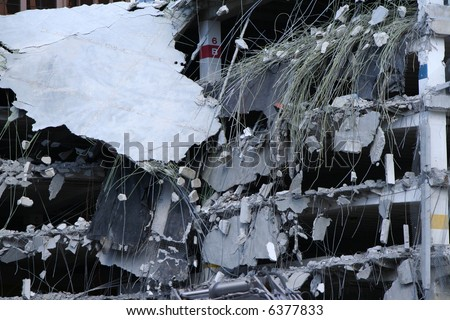 demolition site background with shell - stock photo