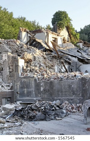 demolition work at a residential building - stock photo