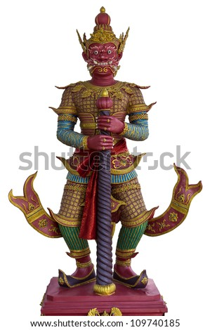 Demon Guardian and Architecture, Bangkok, Thailand - stock photo