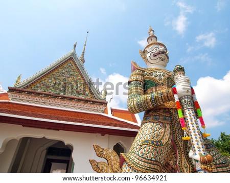 Demon Guardian at wat Arun in Bangkok Thailand - stock photo
