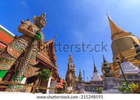 Demon Guardian in Wat Phra Kaew and Grand Palace, Bangkok, Thailand - stock photo