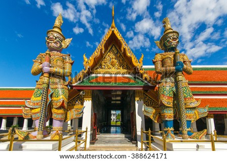 Demon Guardian in Wat Phra Kaew and Grand Palace in sunshine day, Bangkok, Thailand - stock photo