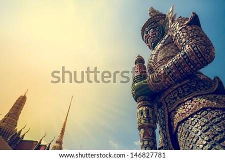 Demon Guardian Wat Phra Kaew Grand Palace Bangkok - stock photo
