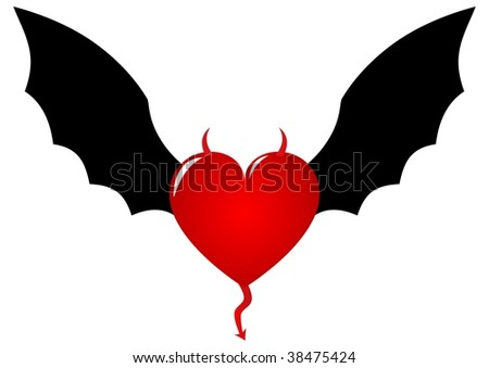 Demon heart with horns and bat wings - stock photo