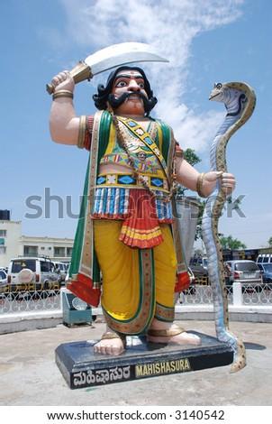 Demon Mahishasura, Chamundi Hill, Mysore - stock photo