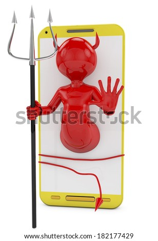 demon on smarphone, metaphor of virus in phone - stock photo