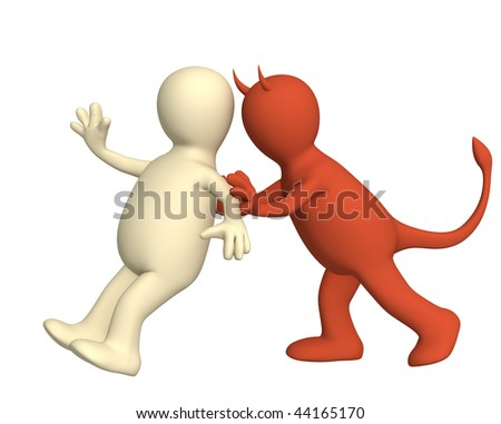 Demon, pushing the person on a crime - stock photo