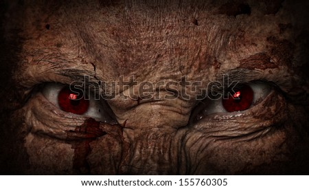 demonic ugly face looking at you - stock photo