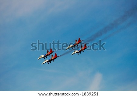 Demonstration flights of flight groups on an air show in Russia - stock photo
