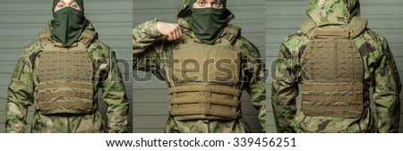 demonstration of body armor. bulletproof vest. unrecognizable man