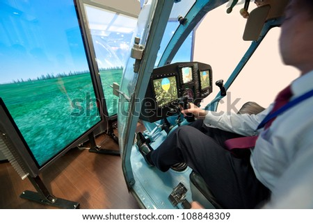 Demonstration of helicopter simulator - stock photo