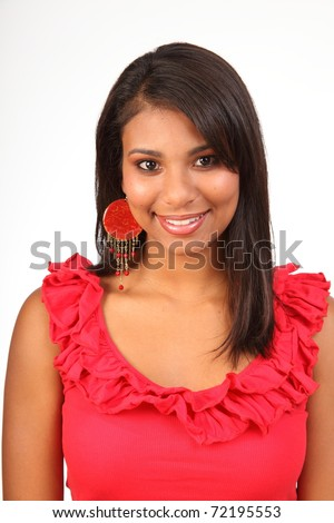 Demure smile from stunning girl in red