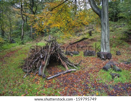 den made from branches in autumn woodland - stock photo