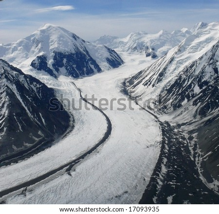 Denali from an airplane window - stock photo