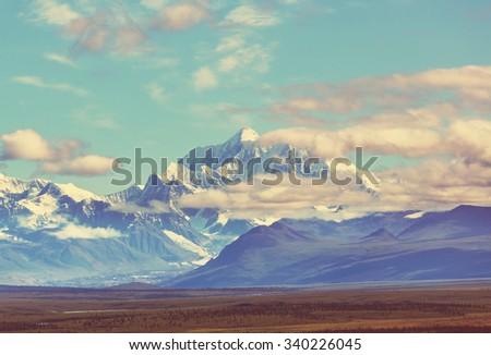 Denali (McKinley) peak in Alaska, USA - stock photo