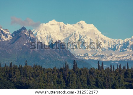 Denali (McKinley) peak in Alaska, USA.Instagram filter. - stock photo