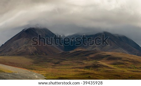 Denali National Park on a typically cloudy day - stock photo