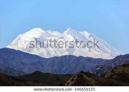 Denali or McKinley Mountain on a very clear day Alaska - stock photo