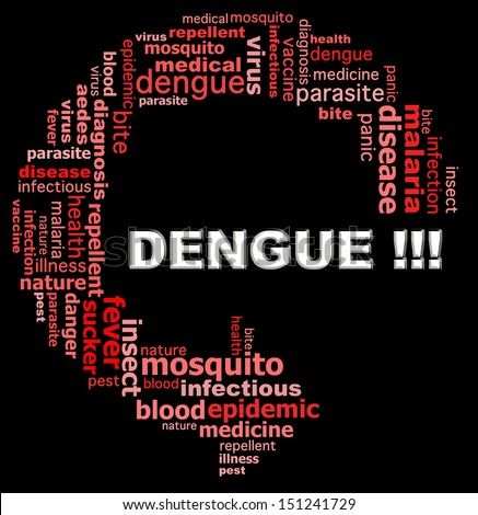 DENGUE FEVER info text graphics and arrangement concept (word clouds) on white background - stock photo