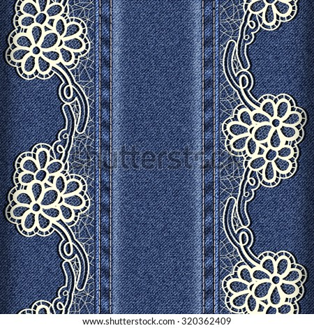 Denim and lace. Background with lace ribbons sewn vertically. Rasterized version. - stock photo