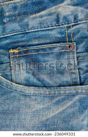 Denim background. pocket jeans - stock photo