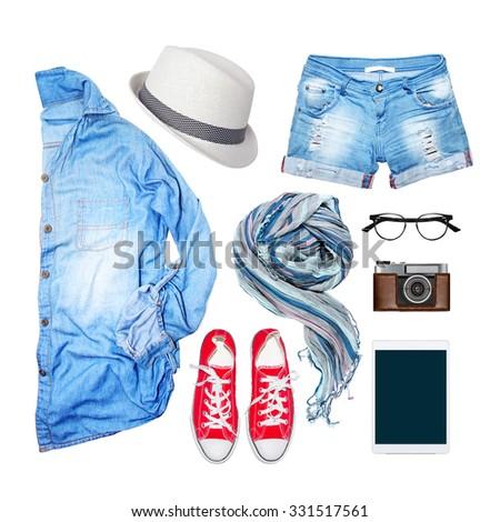 denim clothing on a white background - stock photo