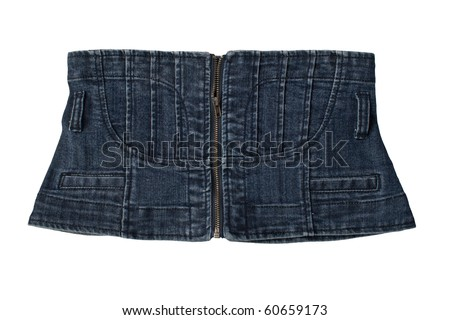 denim corset. over white - stock photo