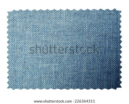 Denim fabric swatch sample isolated over white background - stock photo