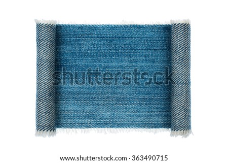 Denim frame folded in the form of manuscripts, on a white background, with space for your text