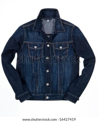 denim jacket isolated - stock photo