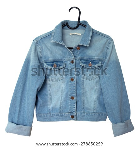 Denim jacket on a hanger. Isolated on white. Clipping path included. - stock photo