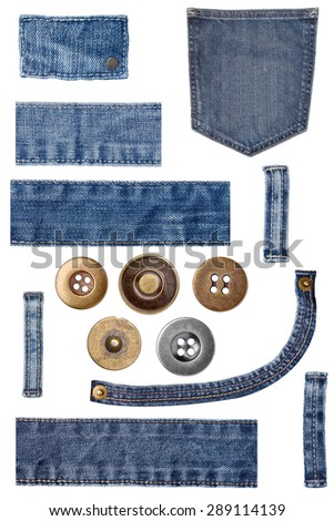 denim jeans parts - stock photo